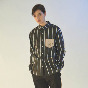 엠지아이MGI black tailored stripe shirts 블랙긴팔 셔츠
