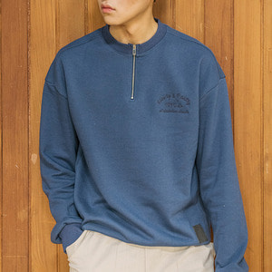 언클락와이즘Slowly&Fastly Slogan Embroidery Half Zip-up Sweatshirt 블루하프 집업 맨투맨