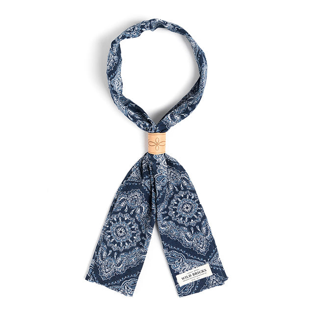 와일드브릭스TWO-TONE PAISLEY SCARF (navy)