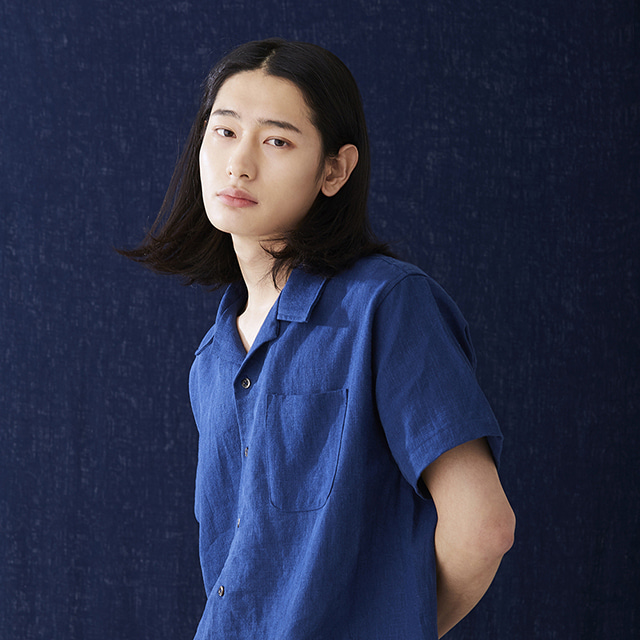 헤이시카HEYSHKA BLUE SHORT-SLEEVED SHIRT반팔 셔츠
