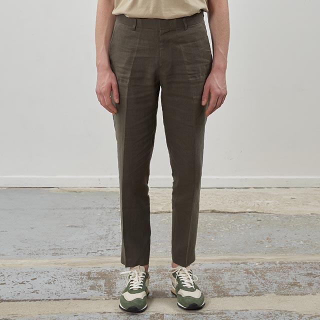 핸스Ete Linen Set-up Trouser Stately Khaki바지 린넨 슬랙스